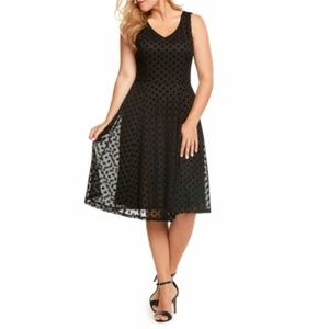 Polka Dot Black Sleeveless Fit & Flare Dre…